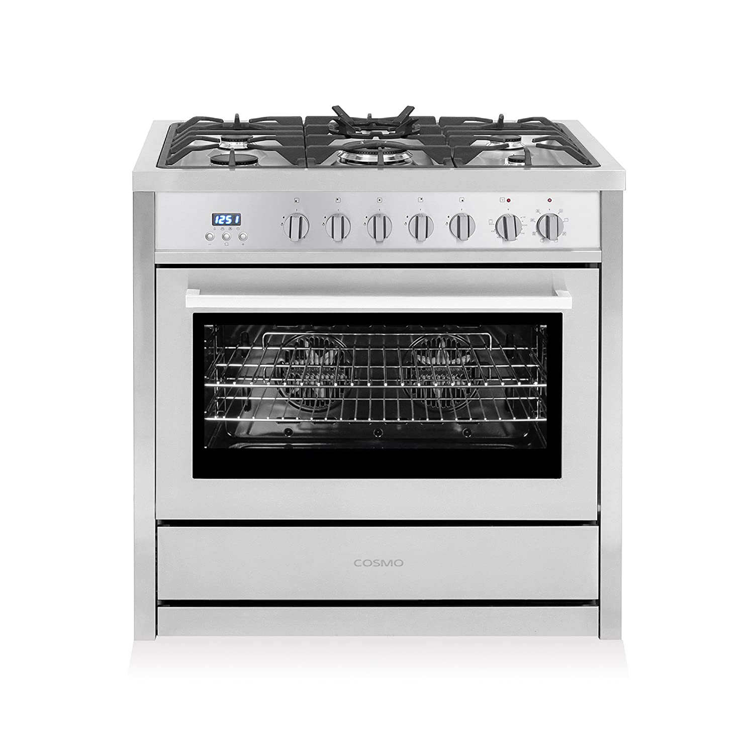 Cosmo COS-F965NF Commercial-Style 36 in. 3.8 cu. ft. Single Dual Fuel Range with with 5 Burners and 8 Function Convection Oven, Cast Iron Grates|Stainless Steel