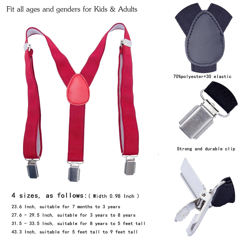 Khaki, 31.5-33.5 Inch Adjustable Y Shape Elastic Leather Braces Suspenders Toddler Kids Boys Baby Suspenders 8 Years - 5 Feet Tall