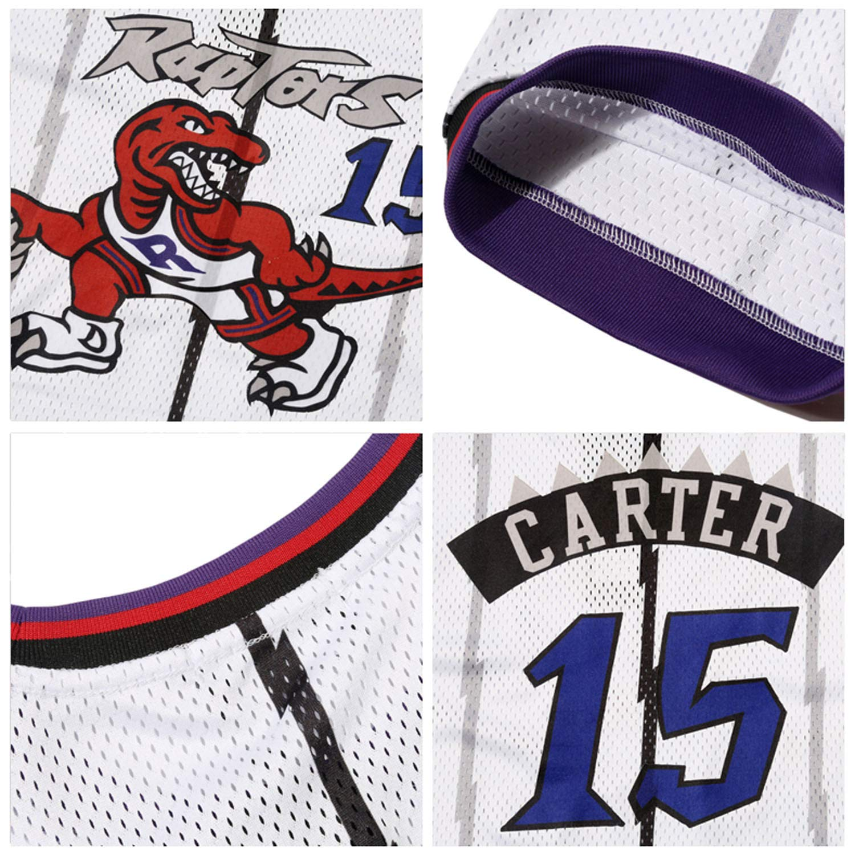 Toronto Raptors Vince Carter 15# Hombres Jersey Retro Hombre//Mujer Camiseta Hip Hop Baloncesto Deportes Manga Corta T Shirt