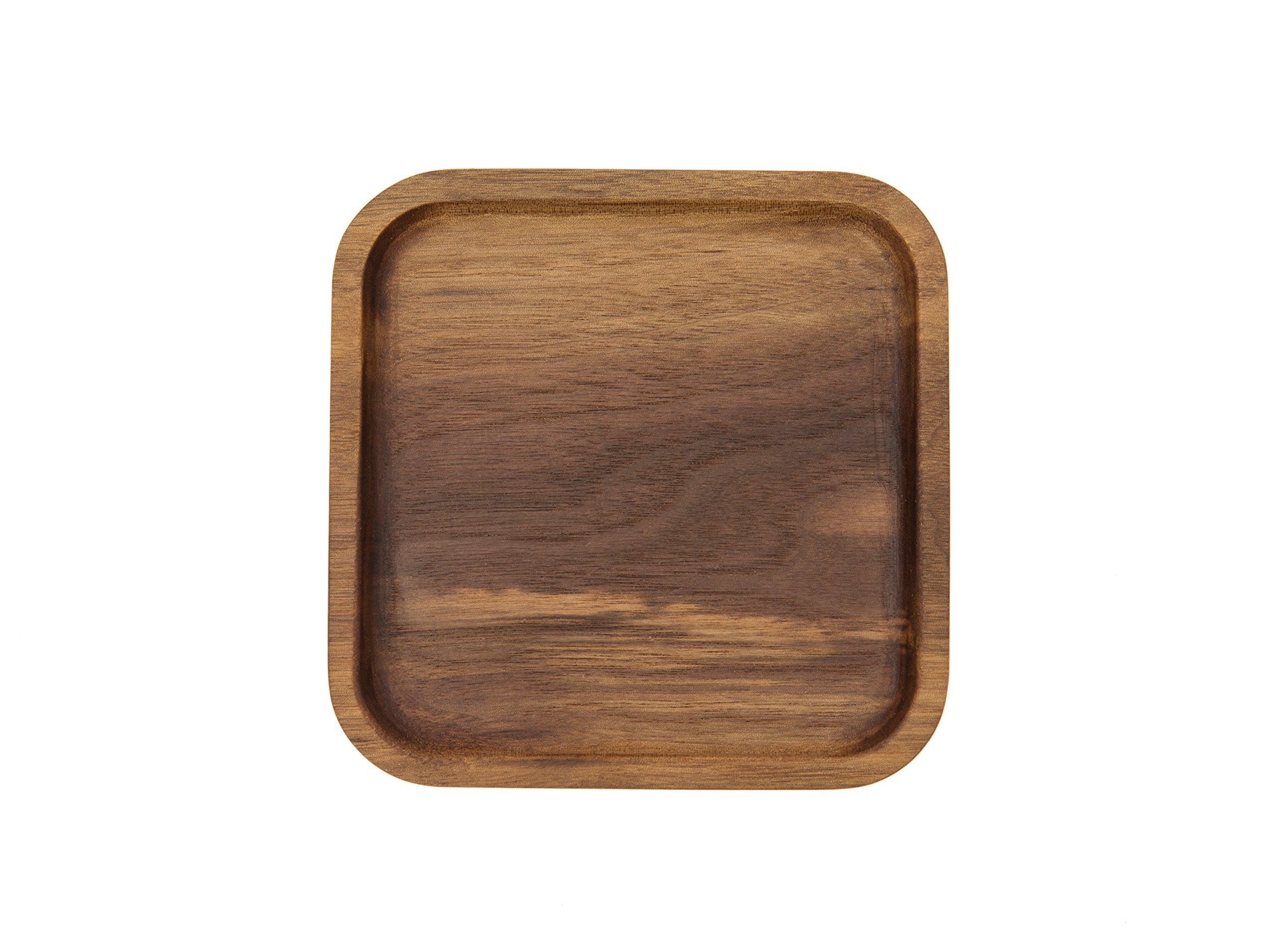 WOOD MEETS COLOR Wood Handmade Serving Tray, Food & Fruit Plate, Creative Tableware 5.1x5.1 Inches (Walnut Square Tray 1)
