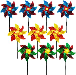ENGESTON 10 Pack Sparkly Colorful Holographic Pinwheels Set, Bird Blinder Repellent Pin Wheel Spinners with Stakes for Garden Decoration, Scaring Off Birds