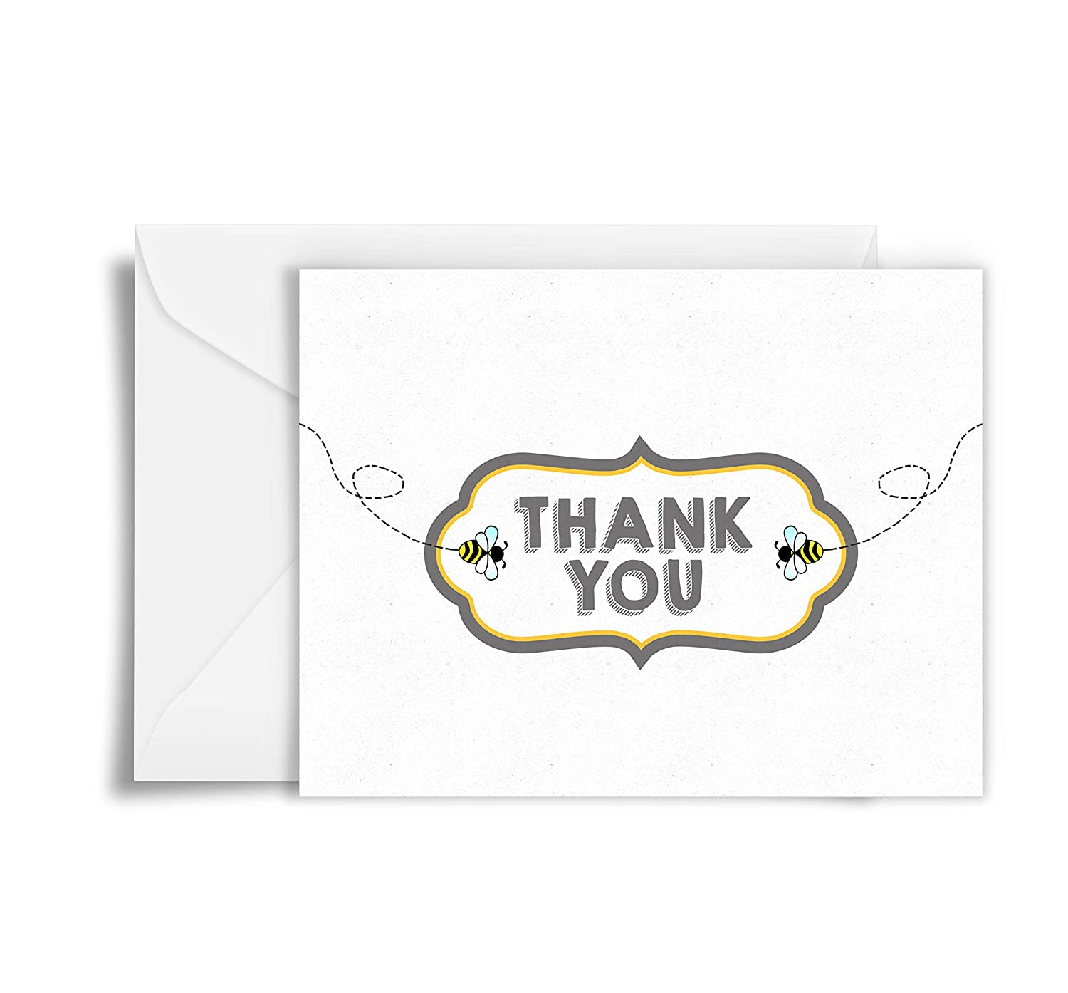 Honey Bee Thank You Cards - set of 20 Cards with Envelopes