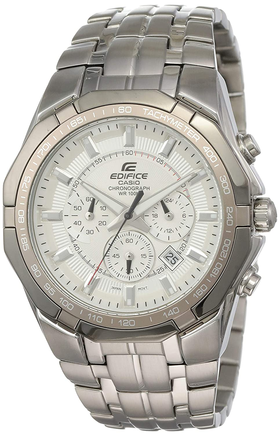 Men s Stainless Steel Edifice White Dial Tachymeter Chronograph
