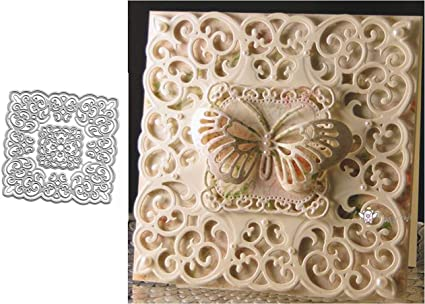Frame Metal Cutting Dies Lace Border Die Stencil Heart Tag Button Crafts Die Cut