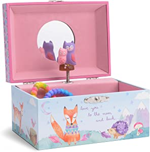 Jewelkeeper Girl's Musical Jewelry Storage Box with Spinning Owls, Woodland Design, Twinkle Twinkle Little Star Tune