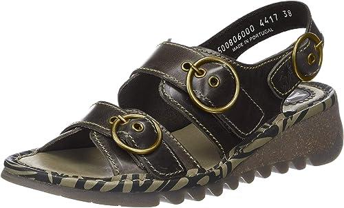 TEAR806FLY Sling Back Sandals, Black