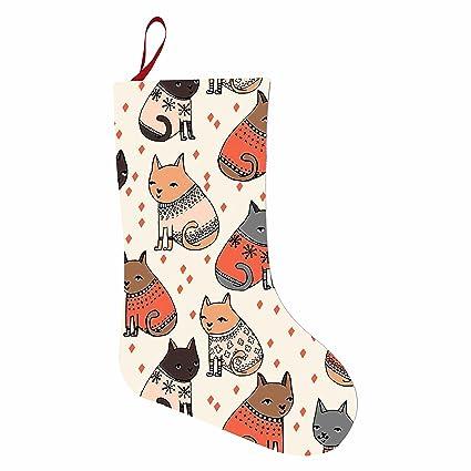hjsua777 gatos en jerséis bolsas de fieltro suave medias de Navidad colgante suministros para fiestas decoración