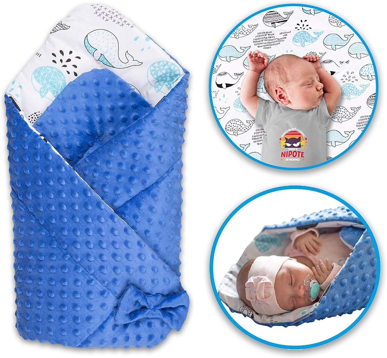 Saco de dormir para bebé, manta para bebé, manta para bebé, manta para bebé, manta para cuna, regalo útil, costura a mano y fabricada en Europa (azul, algodón)