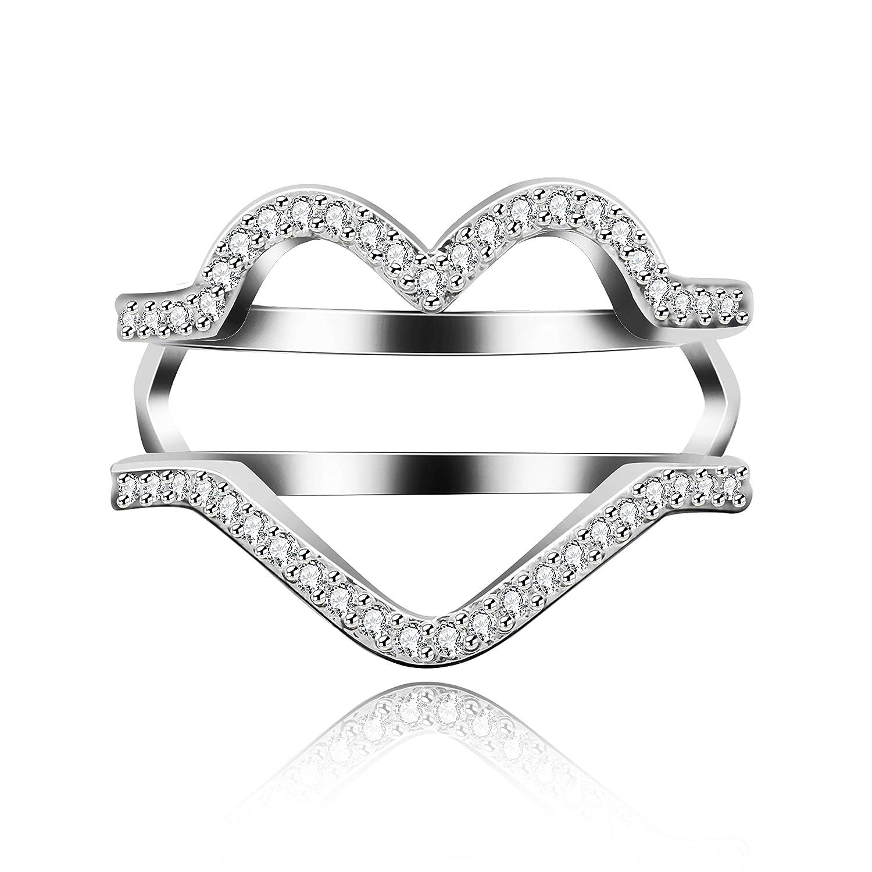 Buy Uloveido Fashion Silver Color Engagement Heart Ring Enhancer