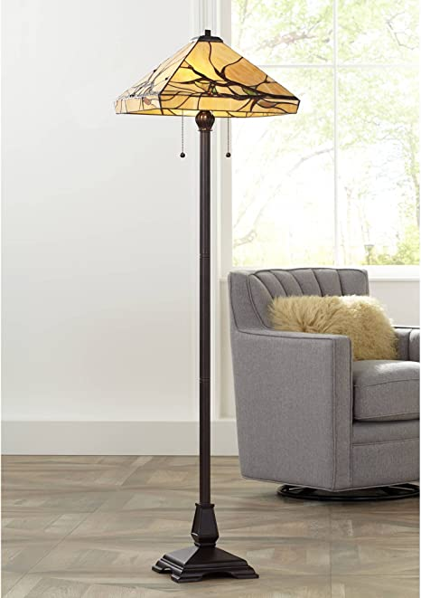 Budding Branch Mission Floor Lamp Bronze Handcrafted Tiffany Style