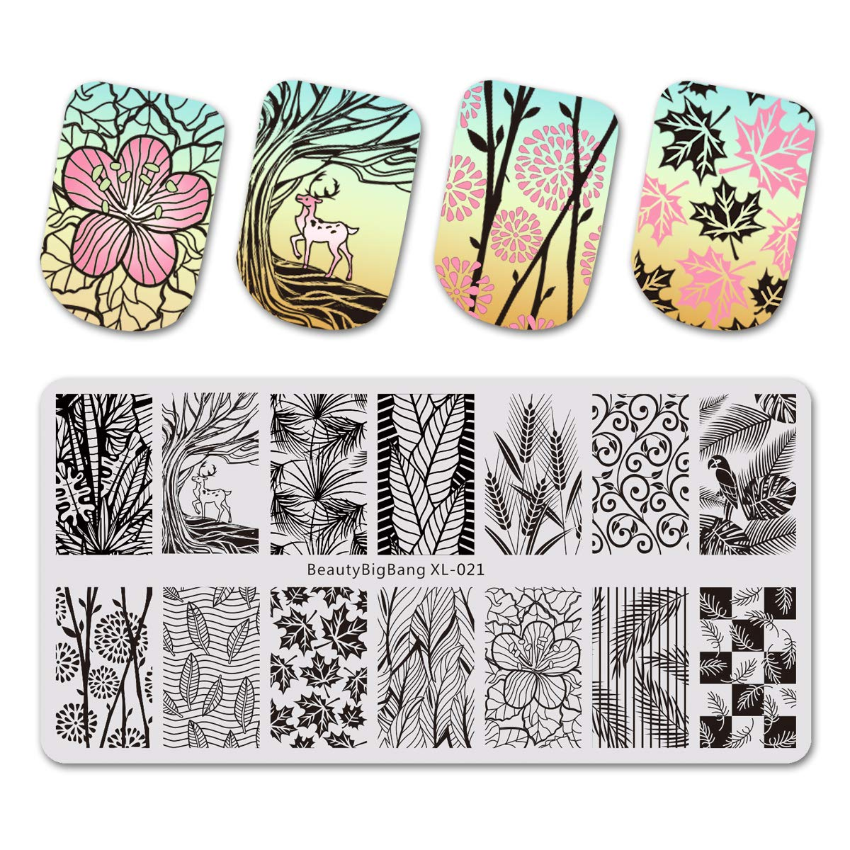 Beautybigbang Nail Stamping Plate Image Templates Floral Flower Leaves Rose Feather Nail Art XL-021