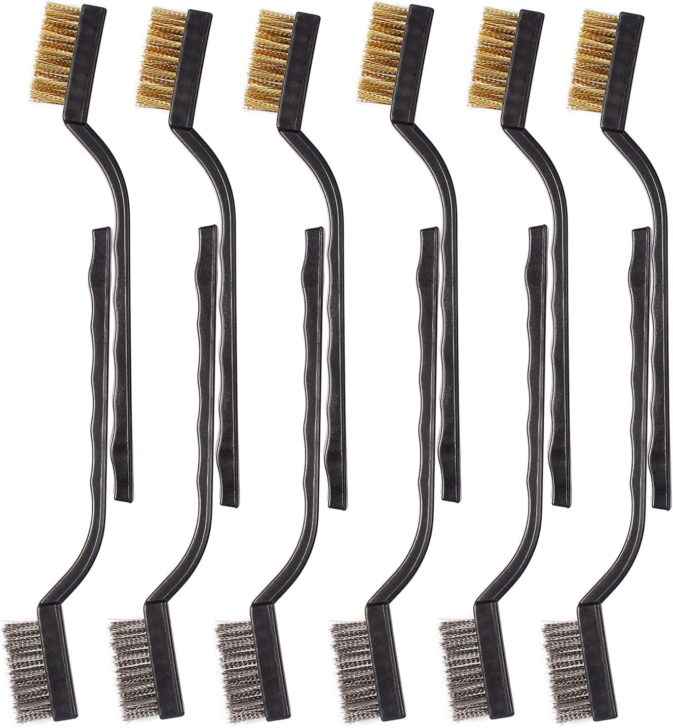 6Pcs Mini Wire Brush with Brass and Stainless for Cleaning Welding Slag and Rush 6PC