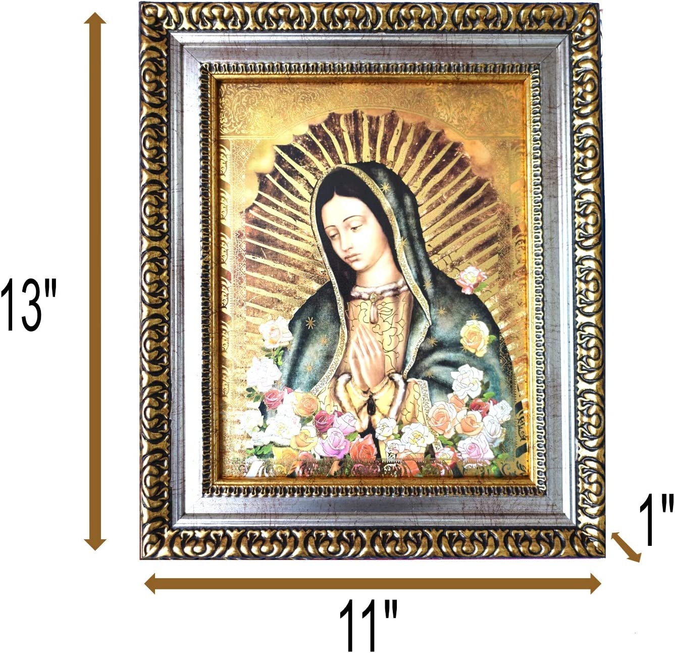 The Virgin De Guadalupe, Embossed print Virgin Mary Framed Art 28x36