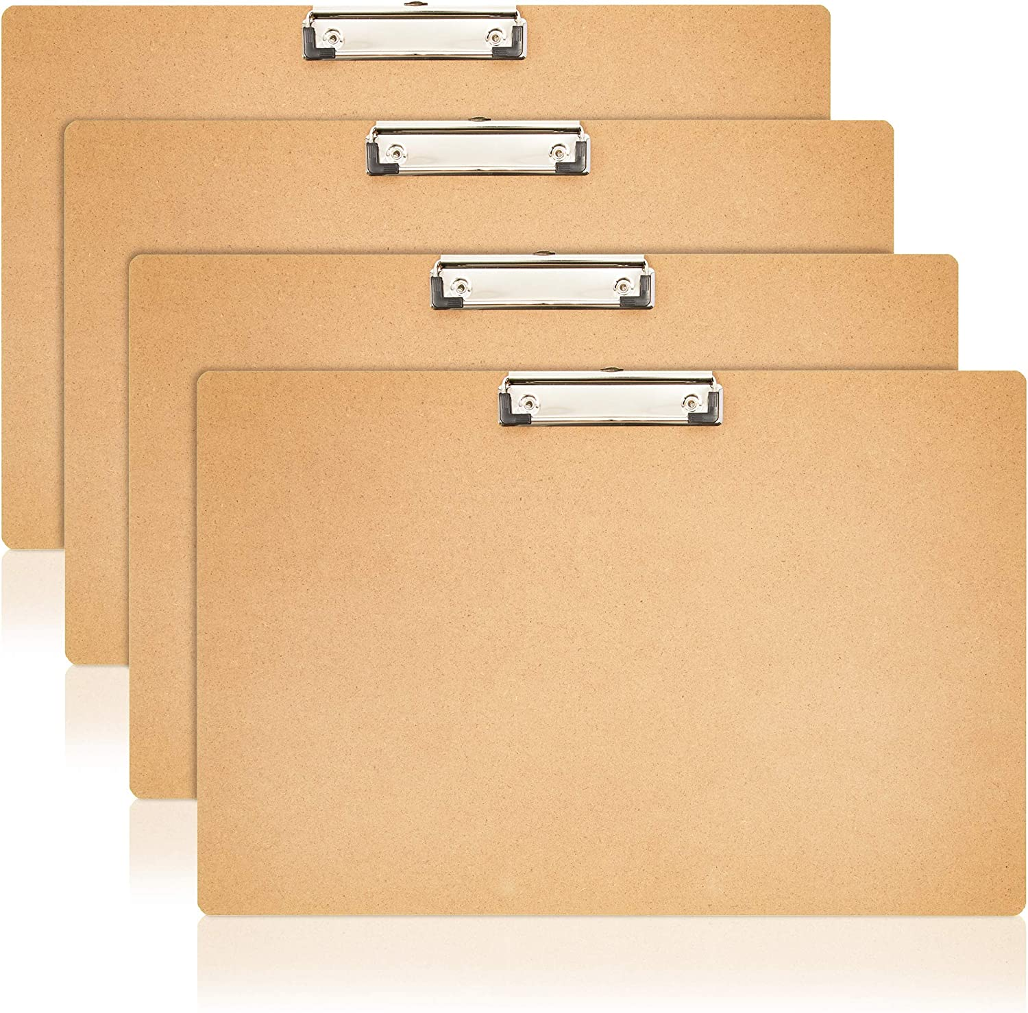 Juvale Horizontal Hardboard Clipboard for Classroom and Office (17.5 x 11.5 in, 4 Pack)