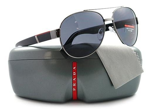 a48f4182b3ed6 Prada Sps 52M 5Av-5Z1 Gun Metal Black W  Grey Polarized Lens Sunglasses   Amazon.co.uk  Clothing