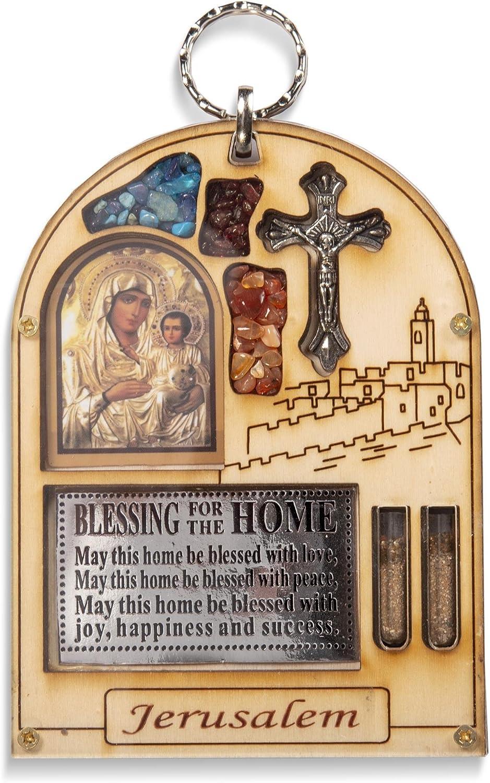 bendición (VARIOS IDIOMAS) - Con Semi Precioso Piedras Jerusalén Madera Colgante de Pared Blanco María Icono Regalo - Blanco, English