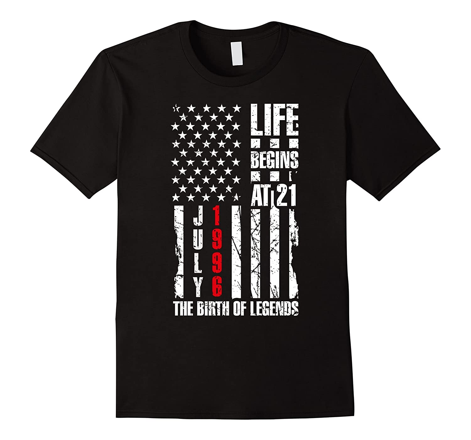 21st Bday Gift T-Shirt Life Begins At 21 Born in July 1996-PL