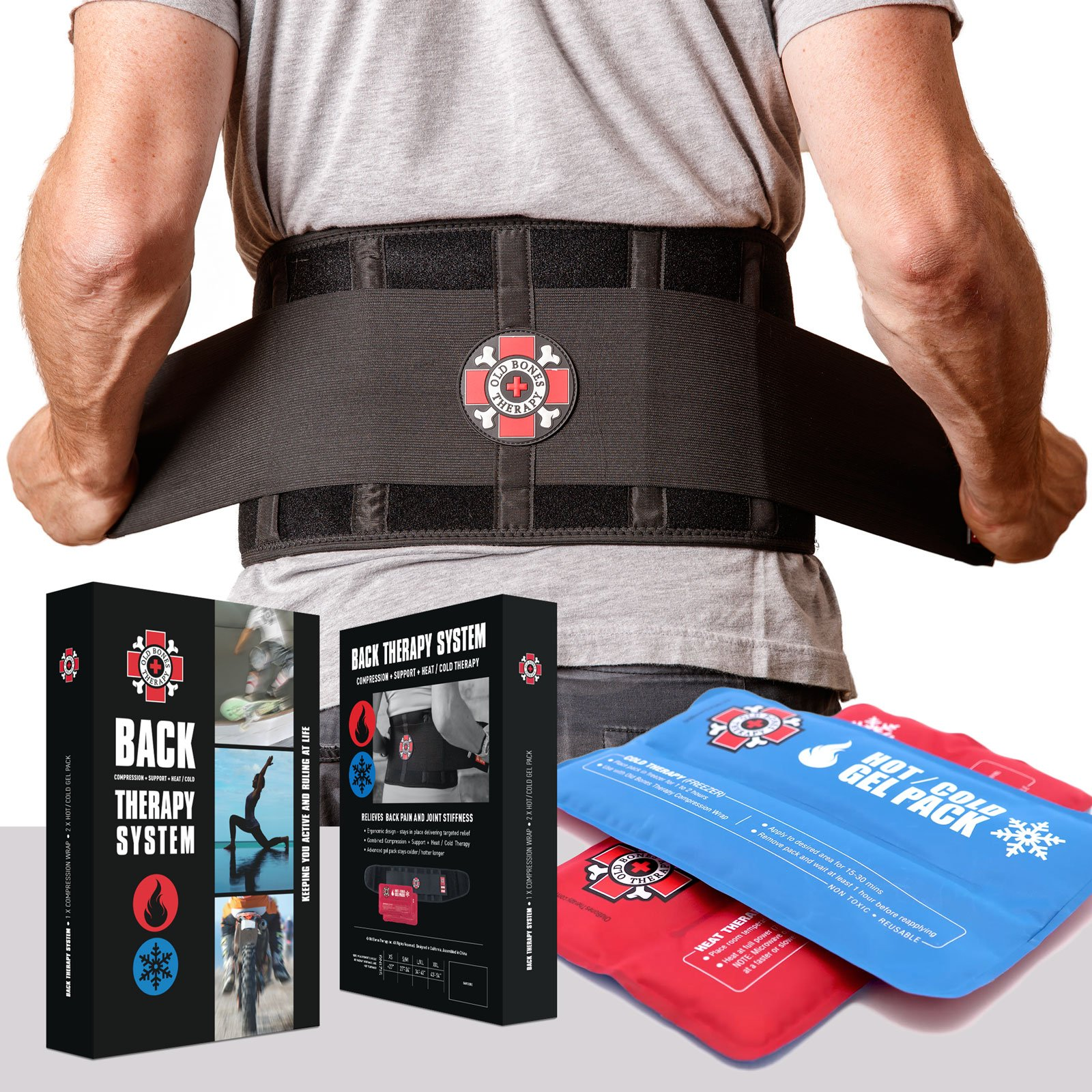 Back Brace with Ice Packs by Old Bones Therapy - Ice or Heat On the Go - Pain Relief for Lower Back Pain - Adjustable Back Support Belt + Lumbar Support for Men & Women (Back Brace + Gel Packs, XXL) by Old Bones Therapy