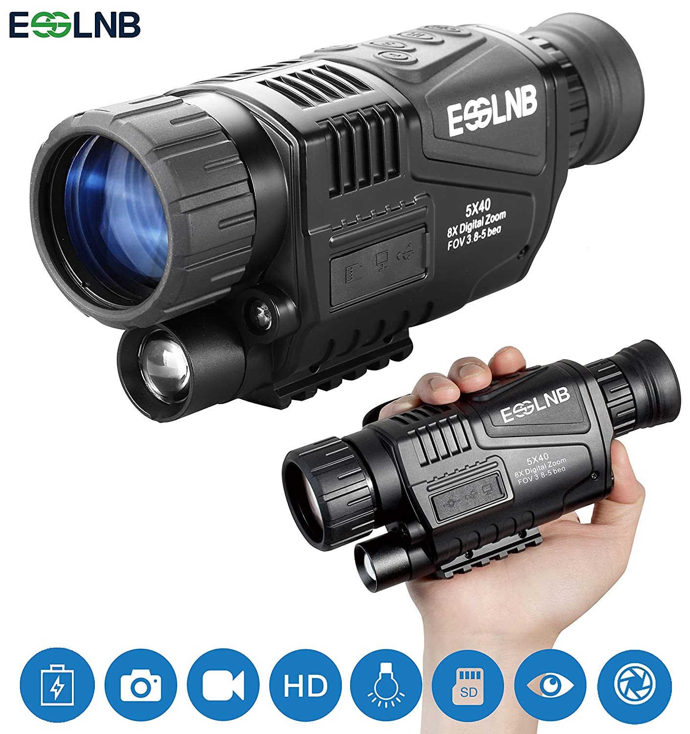 ESSLNB Night Vision Monocular 5X40 Night Vision Infrared IR Camera HD Digital Night Vision Scopes with 1.5 TFT LCD Take Photos and Video Playback Function and TF Card for Hunting Security Surveilla