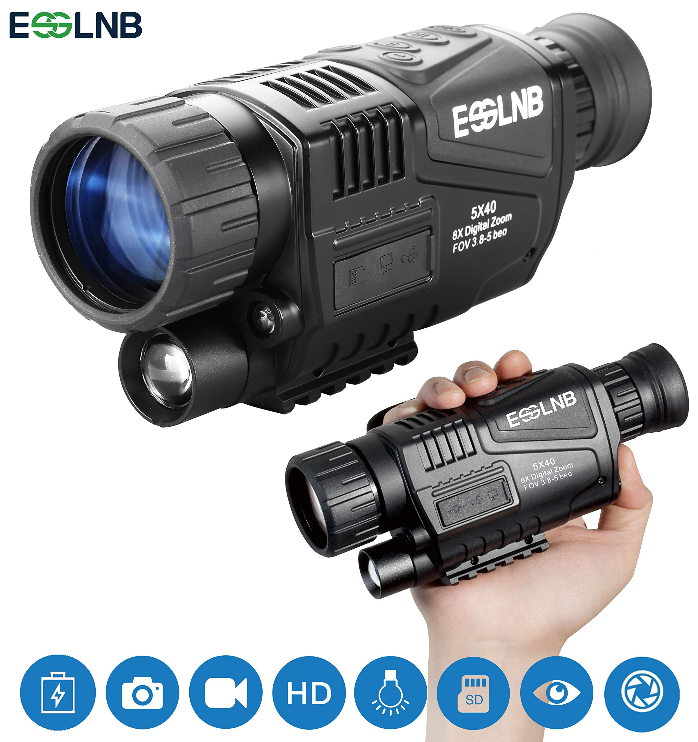 ESSLNB Night Vision Monocular 5X40 Night Vision Infrared IR Camera HD Digital Night Vision Scopes with 1.5'' TFT LCD Take Photos and Video Playback Function and TF Card for Hunting Security Surveilla by ESSLNB
