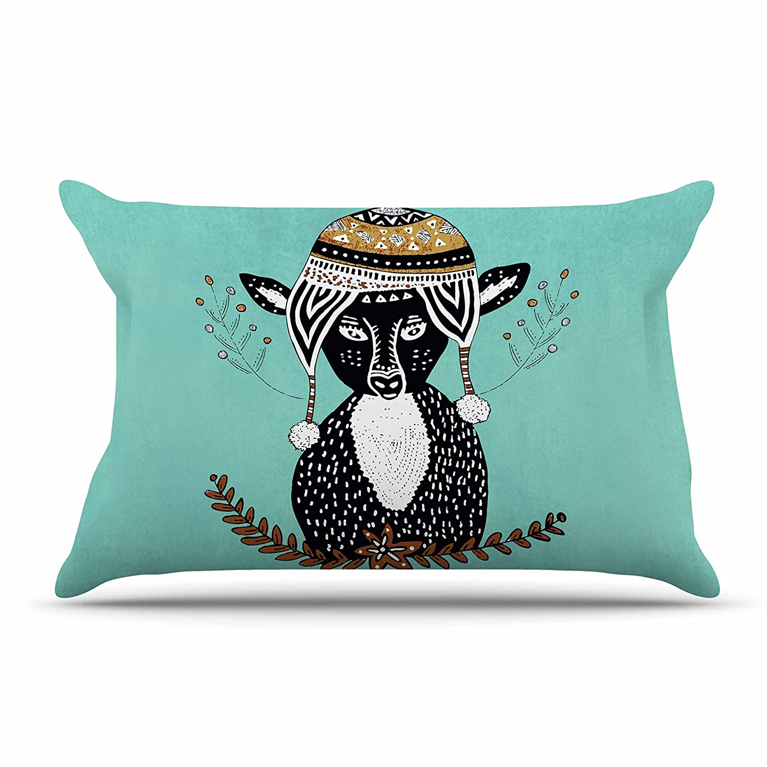 40 x 20 Pillow Sham Kess InHouse Pom Graphic Design Hipster Deer Teal Black Animals Illustration