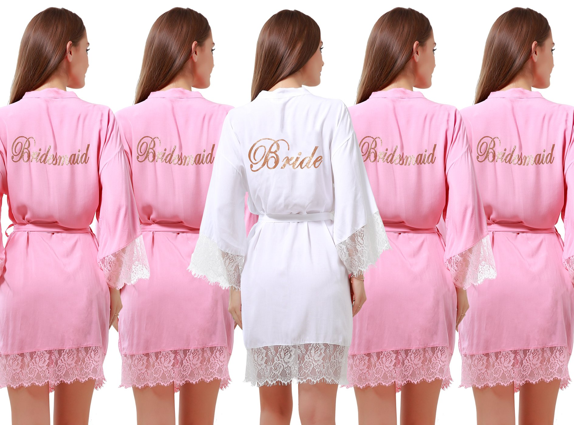 Set of 5 Women's Cotton Kimono Robes Wedding Party Gifts for bride and Bridesmaid with Lace Trim
