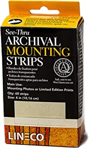 Lineco 4 Inches See-Through Archival Polyester Mounting Strips. Acid-Free, Framing Photos, Hinge-Less, Sturdy, Safe, Conservation, Easy, Artwork, Craft, DIY. (Pack of 60)