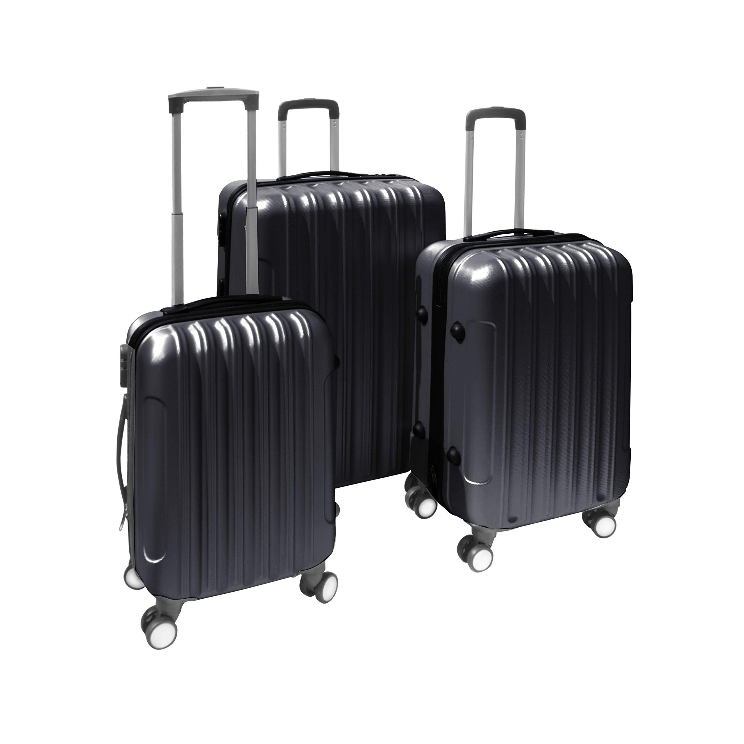 ALEKO 3 Piece Luggage Travel Bag Set ABS Suitcase With Lock, Black Color