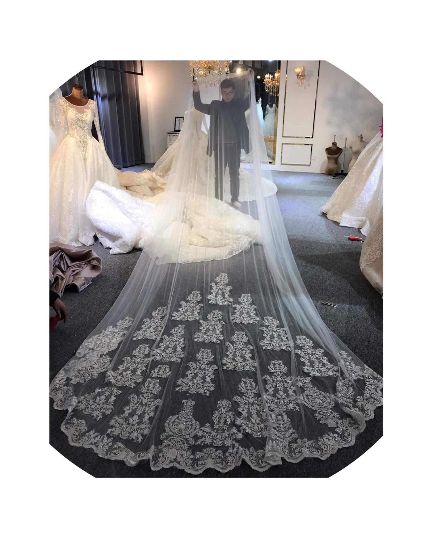 Wedding Veil Lace Long Veil,Ivory,300Cm