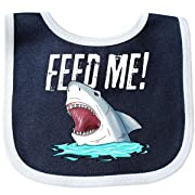 Inktastic - Feed Me with Shark Head Baby Bib Navy/White 2a71d