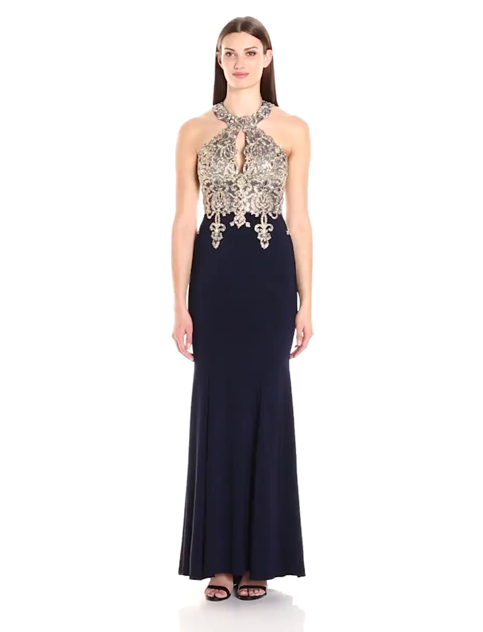 Xscape Women\'s Long Gown With Emb/Bead Halter Top at Amazon Women\'s ...