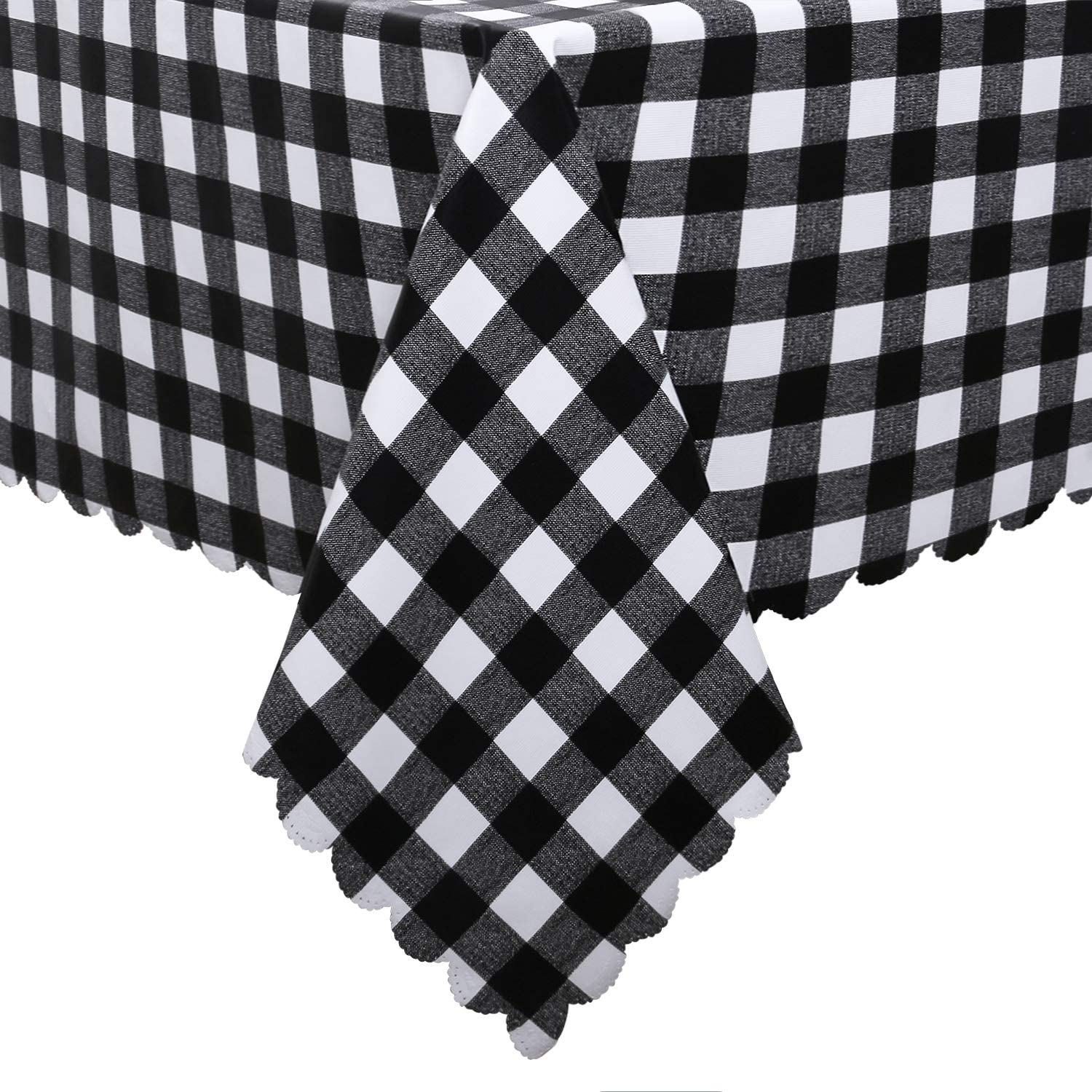 Hiasan Checkered Vinyl Tablecloth Rectangle - 54 x 80 Inch - 100% Waterproof & Stain Resistant Wipeable Plaid PVC Table Cover for Outdoor Picnic/Kitchen Dining/Farmhouse, Black and White