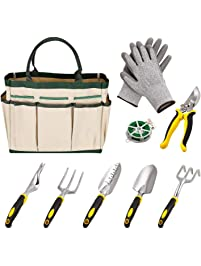 9 Pieces Gardening Tool Kit, 6 Gardening Hand Tools And A Garden Tote, A