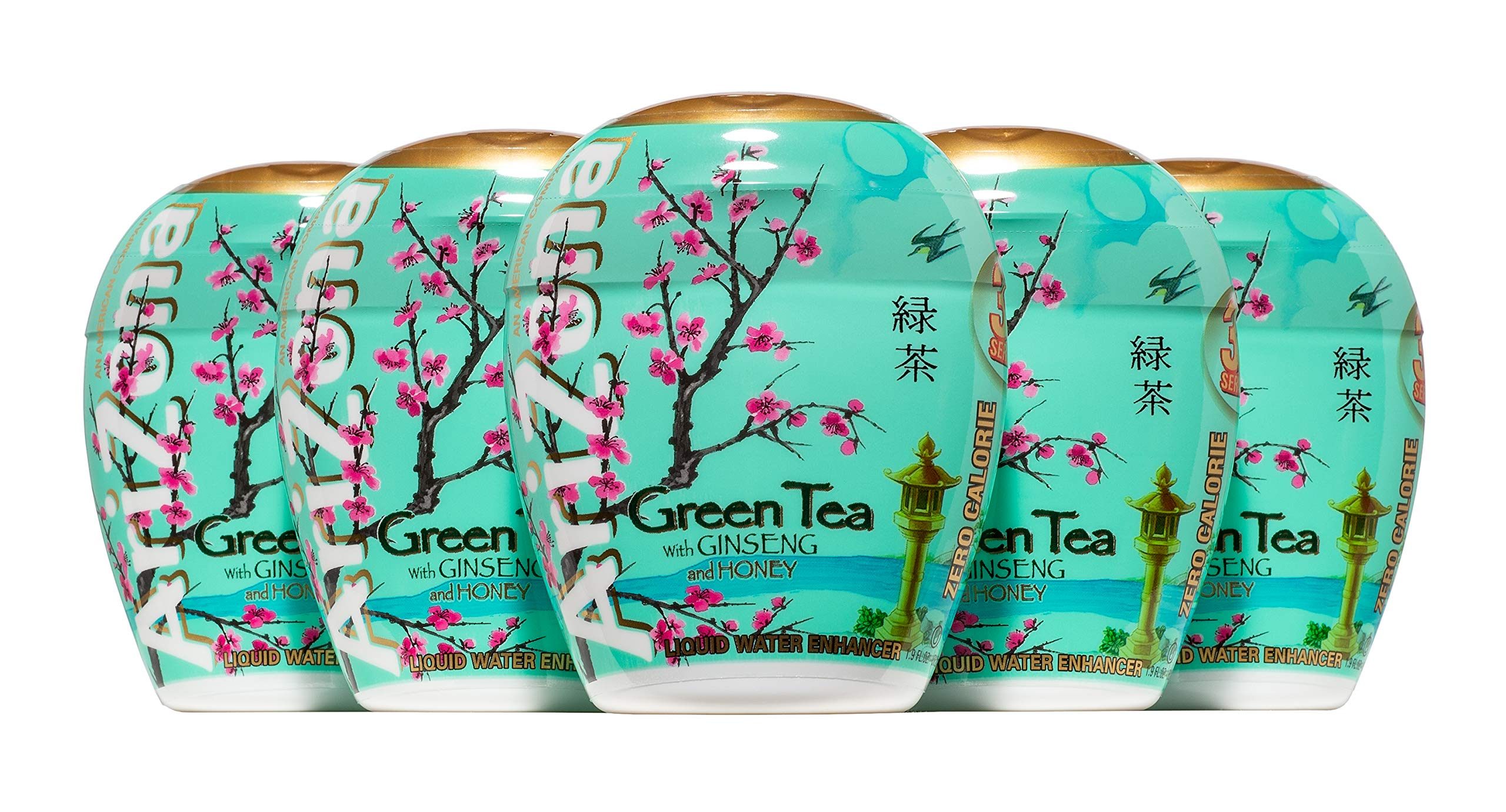 AriZona Green Tea with Honey and Ginseng Liquid Water Enhancer LWE (Pack of 5), Low Calorie Single Serving, Liquid Drink Mix, Just Add Water for Deliciously Refreshing Iced Tea Drink
