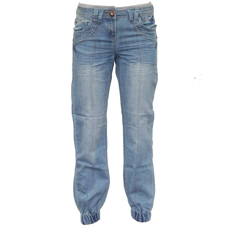 SCO New Girls Elasticated Cuff Jeans Comfy Denim Trousers Pants