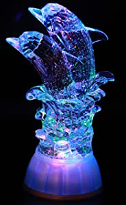 Pair of Dolphin, LED Lighted Sparkling Multi-Color Changing Home Decorative Figurine Good Luck Statue- by Crystal Collection
