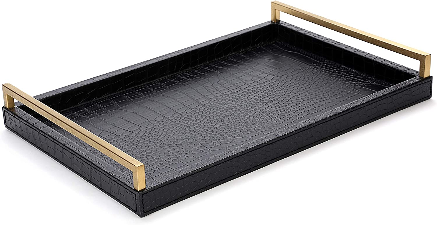 WV Serving Tray Faux Black Crocodile Leather with Brushed Gold Stainless Steel Handle (Black and Gold)