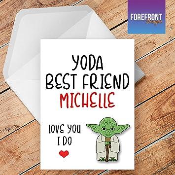 Personalisierbar Yoda Best Friend Star Wars Yoda Grusskarte