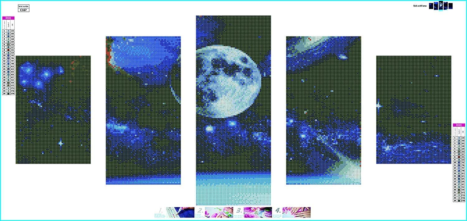 Full Drill DIY 5D Diamond Painting Embroidery Cross Stitch Arts Craft Picture Kit Paint with Diamond Wall D/écor Tree Moon 31.5X15.7in Kingshalor Diamond Painting Kits for Adults