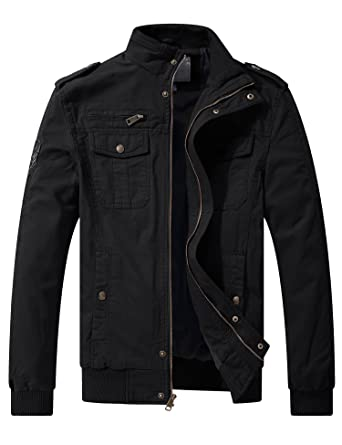 a93c3558398 WenVen Men s Windbreaker Cotton Military Jackets Multi-Pocket Casual Black  Small
