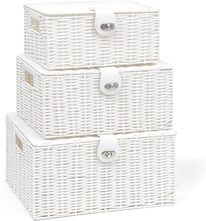Grey dytrading Set of 3 Wicker Storage Baskets With Lid Lock Resin Woven Basket Gift Hamper Box