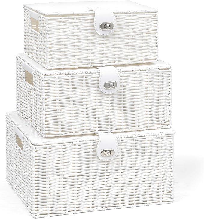 ARPAN – Juego de 3 Cajas de almacenaje de Resina con Tapa y candado, Blanco, Large, Medium, Small: Amazon.es: Hogar