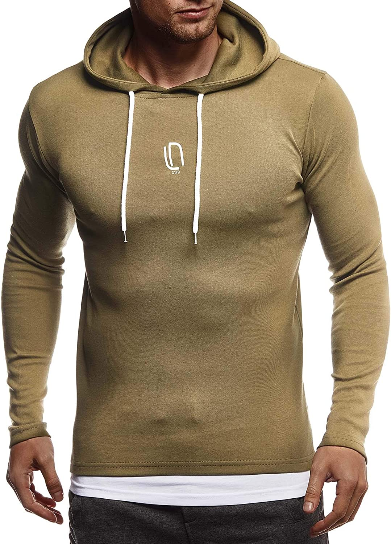 Leif Nelson Gym Herren Fitness Langarmshirt Kapuzenshirt Slim Fit M/änner Fitness Trainingsshirt Hoodie T-Shirt Sportshirt Laufshirt Bekleidung f/ür Bodybuilding Training LN8342