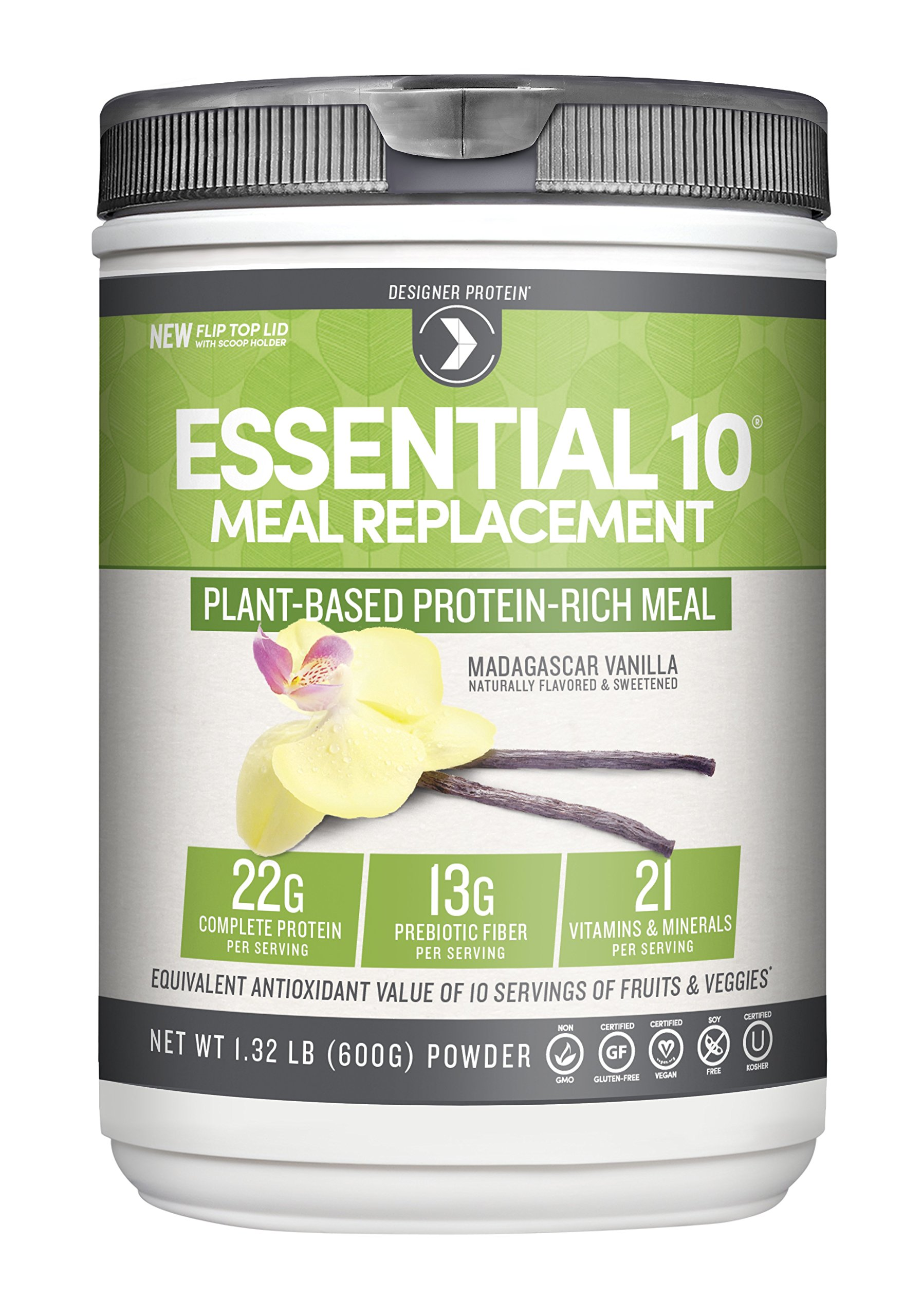 Designer Protein Essential 10 100% Plant-Based Meal Replacement, Madagascar Vanilla, 1.32 Pound