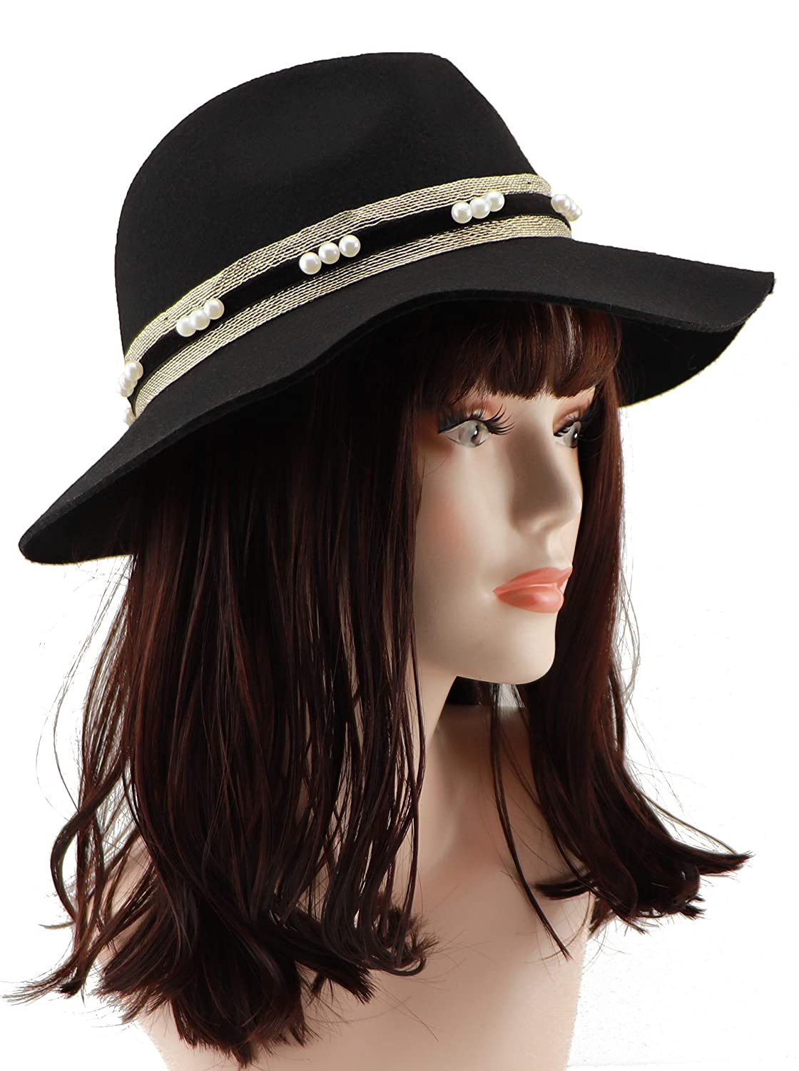 537a99e3e56 Amazon.com  Loufmive Women s Wide Brim Wool Fedora Hat Vintage Felt Bowler Cap  Panama Hat for Winter Fall Spring(Black)  Clothing