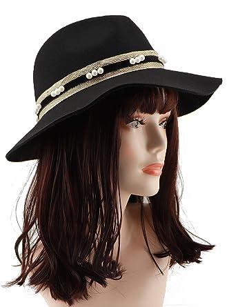 6130d7e5a Amazon.com: Loufmive Women's Wide Brim Wool Fedora Hat Vintage Felt ...
