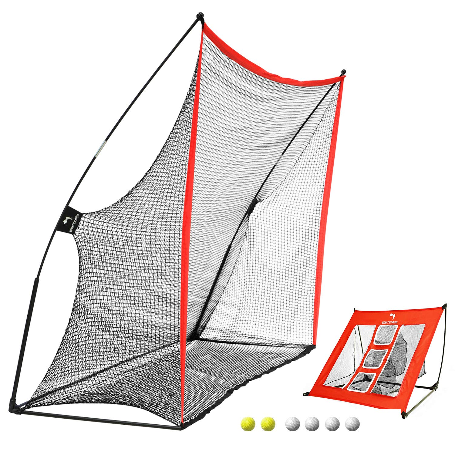WhiteFang Golf Net | 4 in 1 Golf Practice Set 10x7ft Include Golf Chipping Net|Golf Hitting Mat|Golf Balls with Portable Carry Bag for Backyard/Indoor/Outdoor