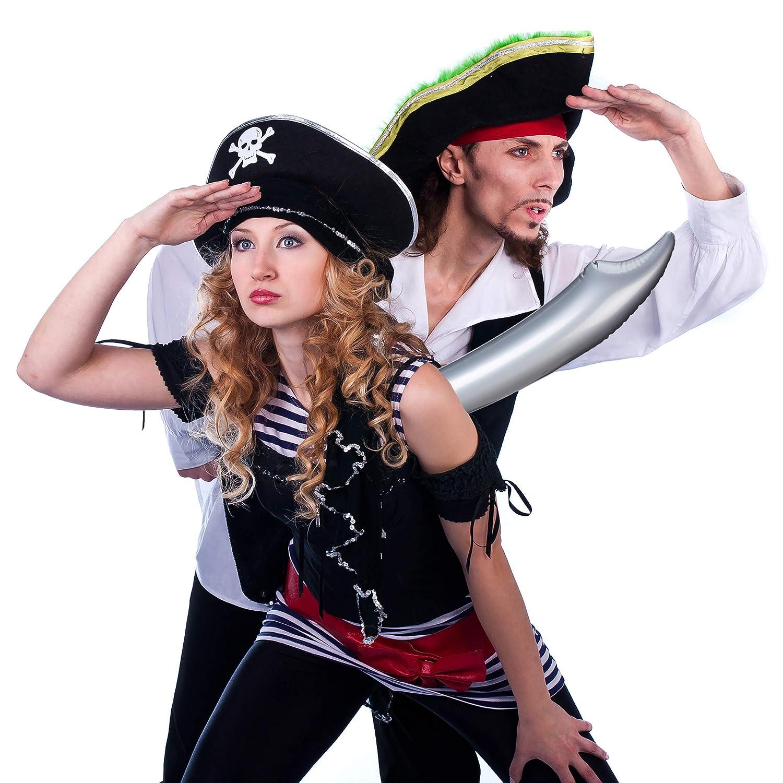 Fasching bunt Piratenschwert 67 cm lang Relaxdays Piratens/äbel aufblasbar Halloween Kinder /& Erwachsene Karneval 6 St/ück