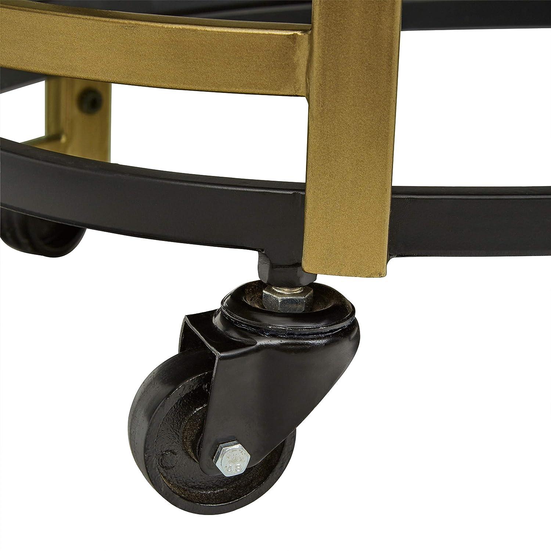Rivet Modern Glass Shelf Rolling Serving Bar Cart, 32.28 H, Black Gold
