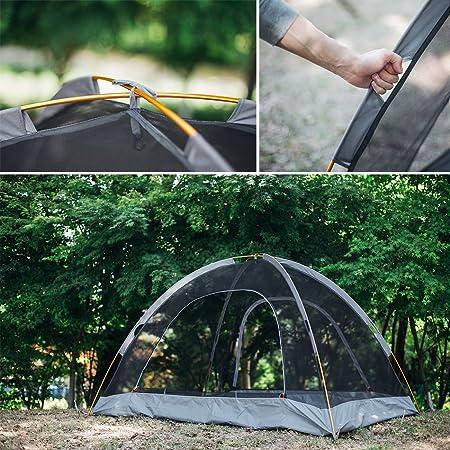 Overmont Tienda de campaña iglú familiar impermeable, 1-2 personas, 4 temporadas, 210*140*115cm, con doble capa y mosquitera, para camping picnic senderismo ...